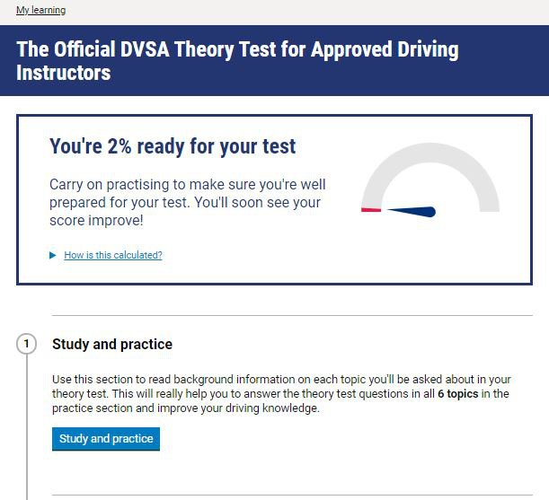 Official DVSA Theory Test Kit for ADIs homepage screenshot