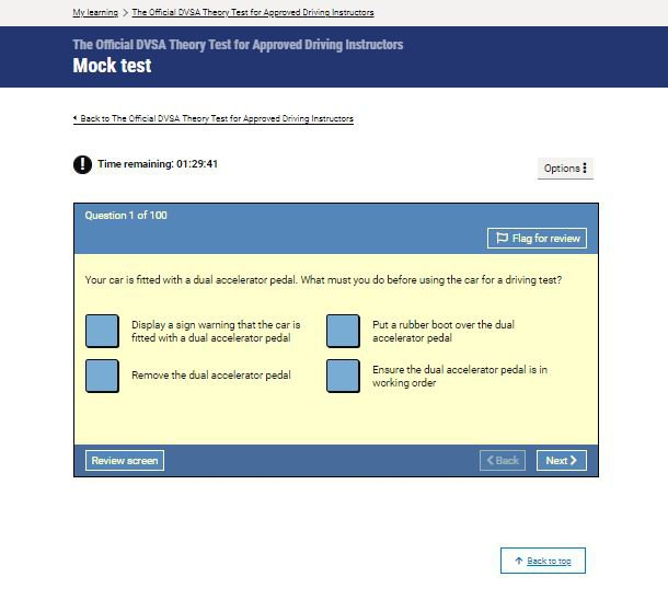 Official DVSA Theory Test Kit for ADIs mock test screenshot