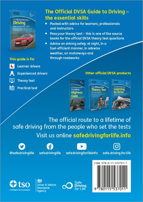 Official DVSA Guide to Driving the essential skills back cover