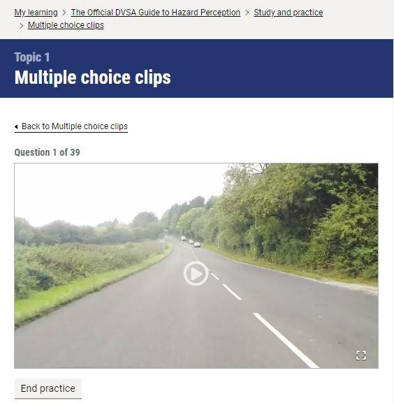Official DVSA Guide to Hazard Perception clip screenshot