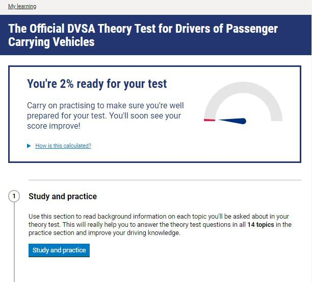 Official DVSA Theory Test Kit for PCV homepage screenshot