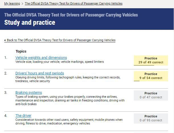 Official DVSA Theory Test Kit for PCV study screenshot