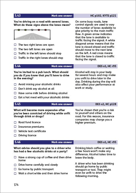 Official DVSA Theory Test for Car Drivers page 174