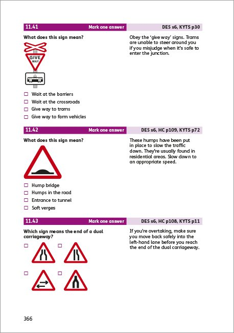 Official DVSA Theory Test for Car Drivers page 366