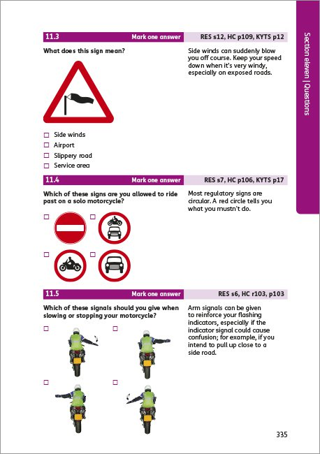 Official DVSA Theory Test for Motorcyclists page 335