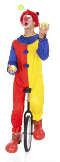 A clown juggles while riding a unicycle