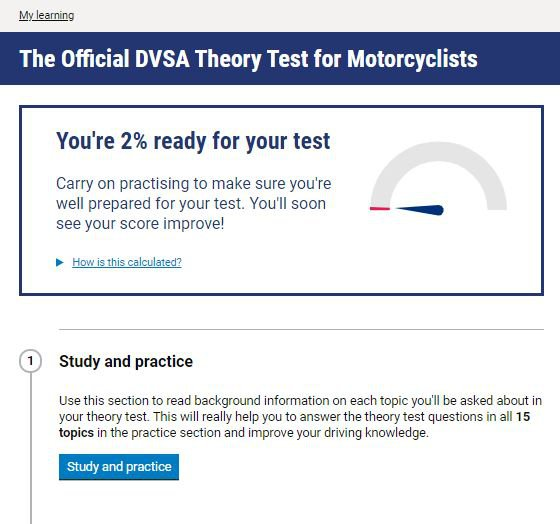 Official DVSA Theory Test Kit for Motorcyclists homepage screenshot