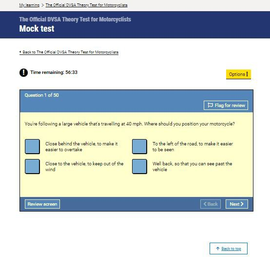Official DVSA Theory Test Kit for Motorcyclists mock test screenshot