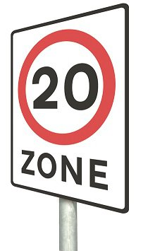 20 mph zone traffic sign