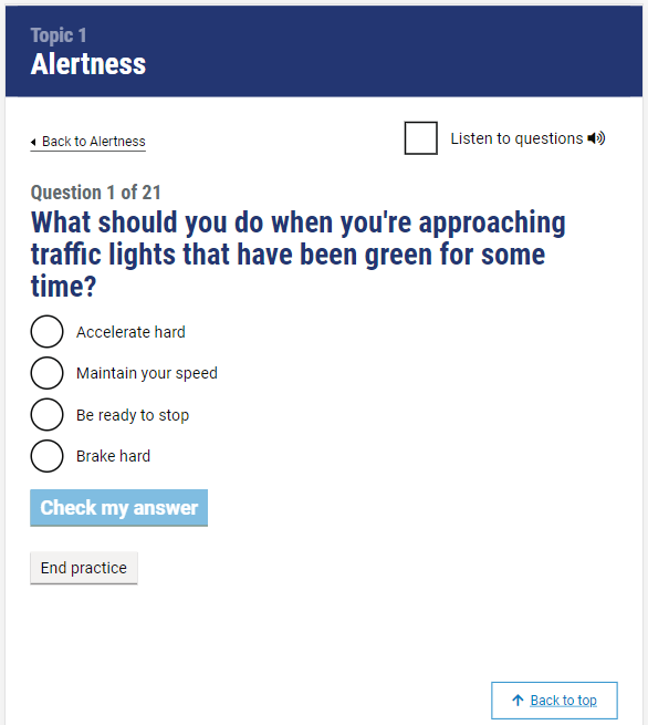Official DVSA Theory Test Kit for Car Drivers question screenshot